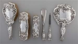 65239: An American Art Nouveau Silver Vanity Set, early