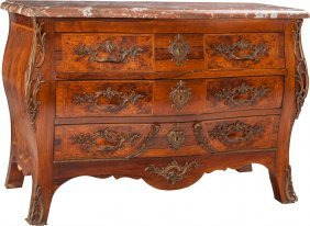 A Régence-style Burlwood Commode With Rouge Marb