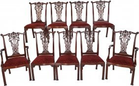 A Set Of Ten Chippendale-style Upholstered Mahog