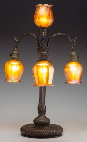 A Tiffany Studios Bronze And Gold Favrile Glass