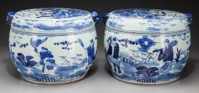 A Pair Of Chinese Blue & White Porcelain Water P