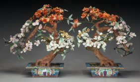 A Pair Of Chinese Hardstone Flowering Trees, 20t