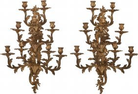 A Pair Of Louis Xv-style Gilt Bronze Nine-light