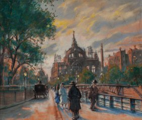 Antal Berkes (hungarian, 1874-1938) Street Scene
