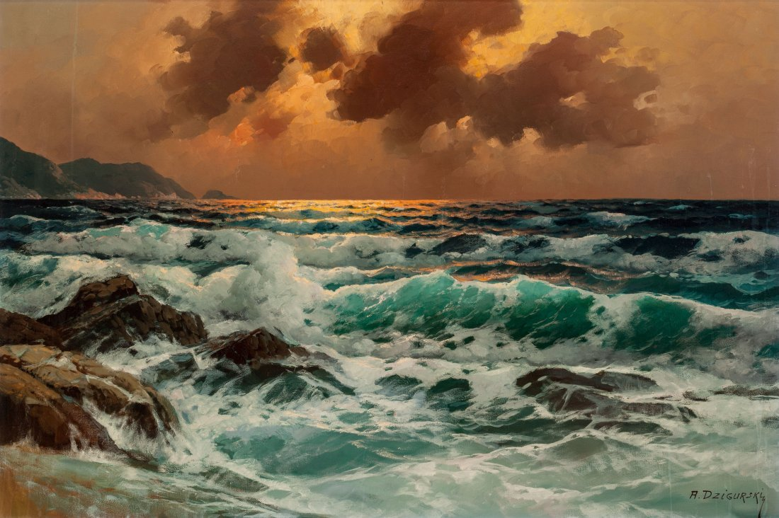 65460: Alexander Dzigurski II (American, 1968) Sunset a