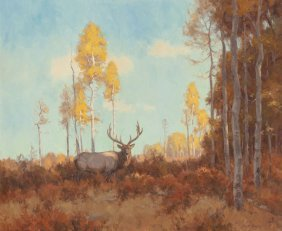 Scott Yeager (american, B. 1965) Autumn Stag Oil