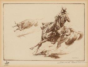 Edward Borein (american, 1873-1945) Roped Steer