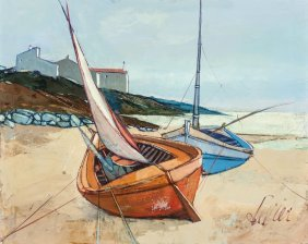 Charles Levier (french, 1920-2003) Boats Oil On