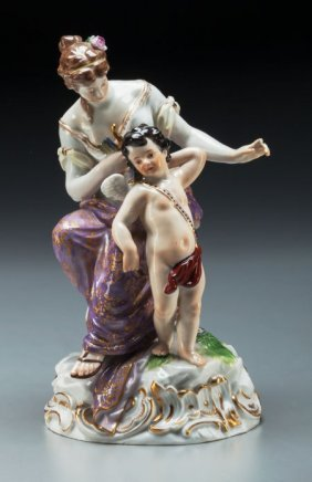 A Meissen Porcelain Figural Group: Woman And Cup