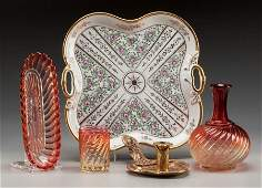 65739 A Group of Four Glass Porcelain and Brass Chamb