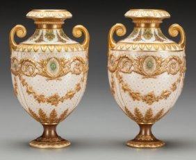 A Pair Of Wedgwood Porcelain Cabinet Vases, Staf