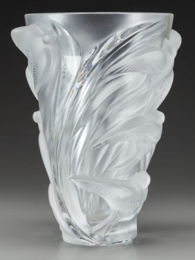 A Lalique Clear And Frosted Glass Martinets Vase