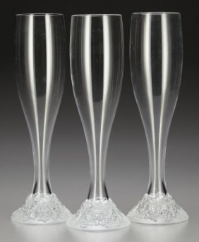 Three Lalique Celebration Clear And Frosted Glas