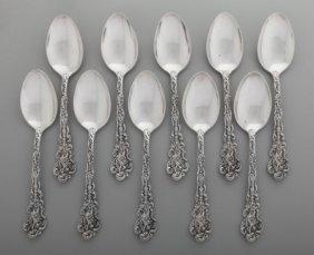 Ten Gorham Versailles Pattern Silver Tablespoons