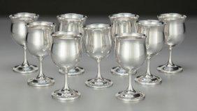Nine Reed & Barton Silver Cordial Stems, Taunton