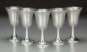 Five American Silver Water Stems, 20th Century M