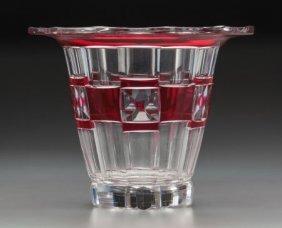 An Art Deco Cut-to-clear Glass Vase, Circa 1925.