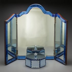 A Continental Glass Tri-fold Mirror And An Assoc