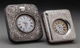 65859 Two Pocket Watches in Silver and Leather Frames