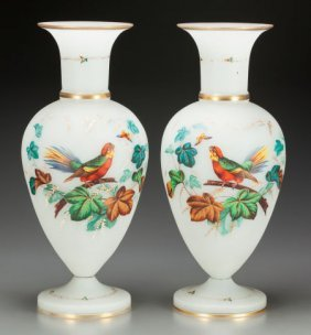 A Pair Of Continental Painted Opaline Glass Vase