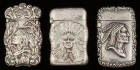 Three American Silver Native American Motif Matc