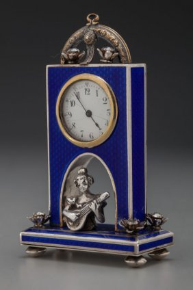 A Continental Silver, Enamel And Rhinestone Desk