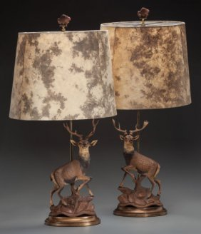 A Pair Of Black Forest-style Composition Stag-fo