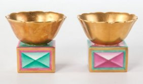 A Pair Of Richard-ginori Gilt And Enameled Porce