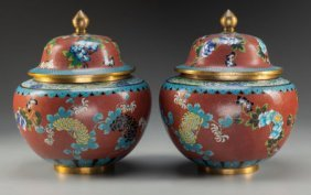 A Pair Of Chinese Cloisonné Ginger Jars, Late 19