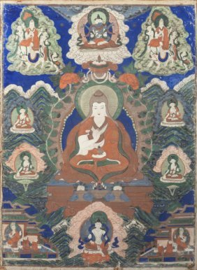 A Thangka Panel 35 Inches High X 25 Inches Wide