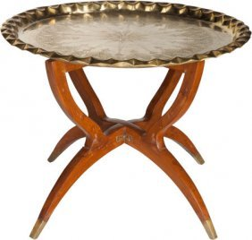 An Italian Teak And Brass Tray Table In The Mann