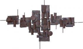 An American Torch-cut Iron Brutalist Wall Sculpt