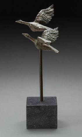 A Vera De Haas Patinated Bronze Sculpture: Geese