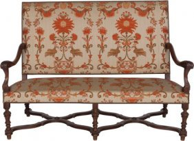 A Baroque-style Upholstered Walnut Settee, Late