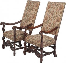 A Pair Of Louis Xiii-style Upholstered Mahogany