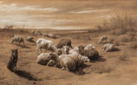 Attributed To Rosa Bonheur Flock Of Sheep, 1850