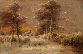 James Hey Davies (british, 1844-1930) Snow-cover