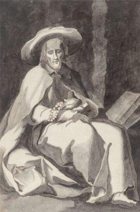 French School (18th Century) Hermit Saint Ink On