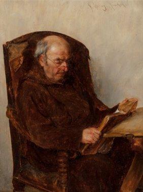 Alfons Spring (german, 1843-1908) Monk Reading O
