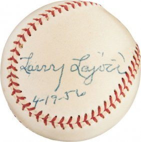 """1956 Napoleon """"larry"""" Lajoie Single Signed Baseb"""