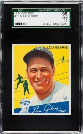 1934 Goudey Lou Gehrig #37 Sgc 98 Gem 10. Lou Ge