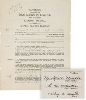 1949 Mickey Mantle Signed First Baseball Contrac