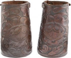A Buck Jones Owned Set Of Leather Cuffs. Set Of