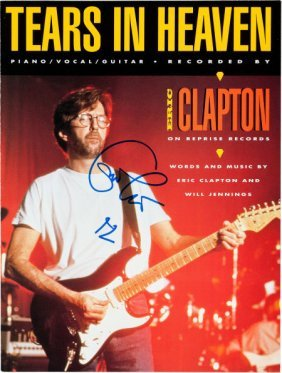"""Eric Clapton Signed """"tears In Heaven"""" Sheet Musi"""