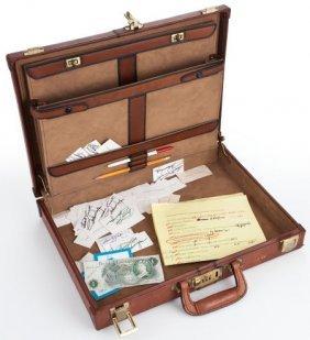 A John Wayne Briefcase, 1970s. Made Of Tan Leath