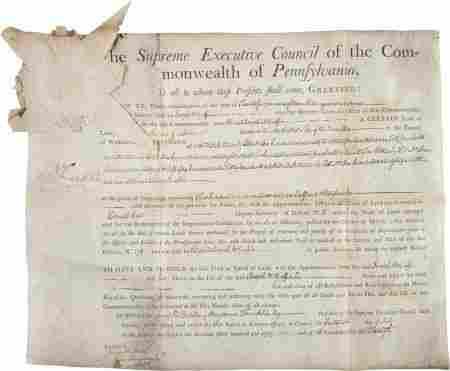 """Benjamin Franklin Document Signed. """"B. Franklin"""""""