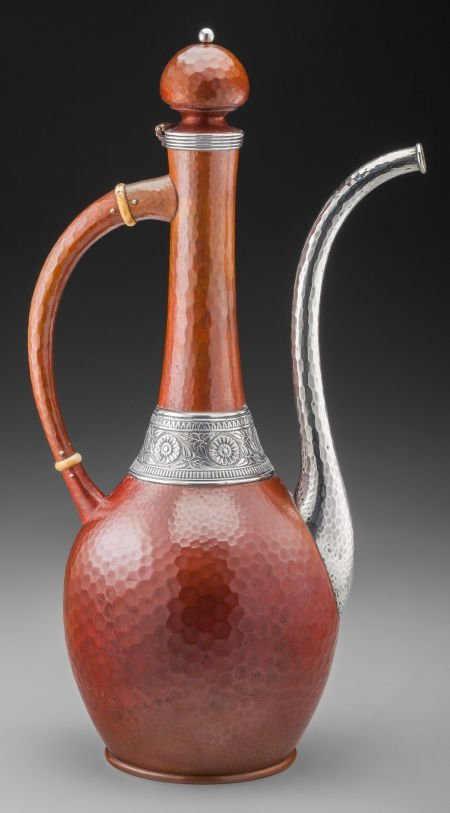 74016: A Gorham Copper and Silver Turkish-Form Coffee P