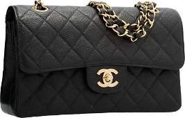 58004: Chanel Black Quilted Caviar Leather Small Double