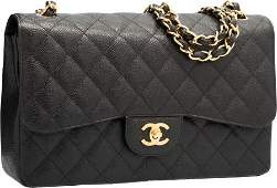 58018: Chanel Black Quilted Caviar Leather Jumbo Double