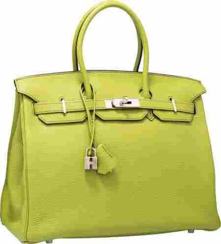 Hermes 35cm Vert Anis Togo Leather Birkin Bag wi